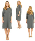 Esteez TEE Dress - Women's Cotton Spandex Casual Shift Dress - 3/4 Sleeves