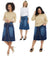 Esteez VICTORIA Skirt - Modest Below the Knee A-line Flary Jean Skirt for Women