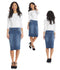 Esteez BOSTON Denim Skirt - Below the knee Straight Modest Jean Skirt for women - Regular and Plus Size