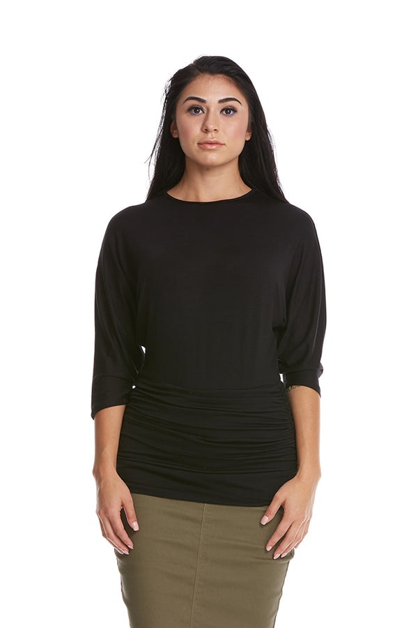 Esteez DAHLIA top - Women's 3/4 Sleeve Tummy Tuck Top - BLACK