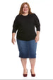 Esteez DAHLIA top - Womens 3/4 Sleeve Tummy Tuck Top - BLACK