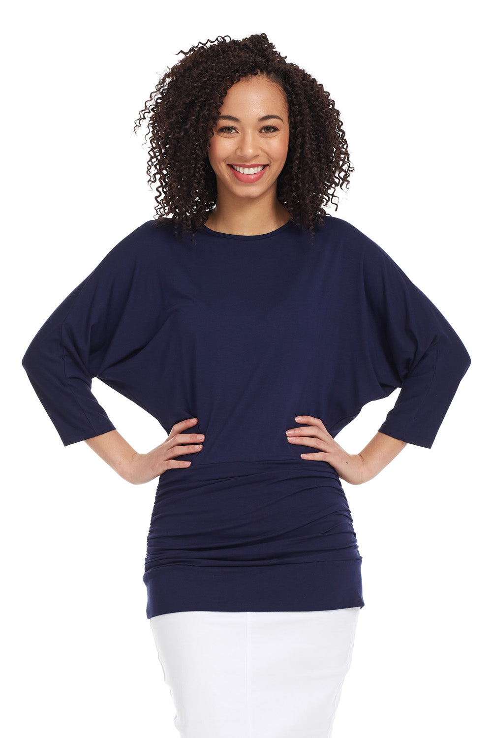 Esteez DAHLIA top - Womens 3/4 Sleeve Tummy Tuck Top - NAVY