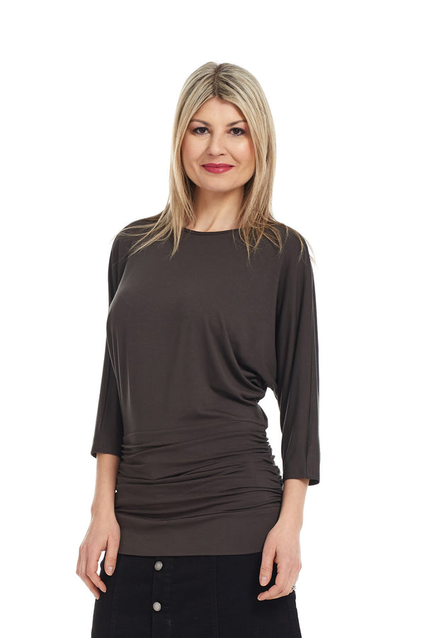 Esteez DAHLIA top - Women's 3/4 Sleeve Tummy Tuck Top - OLIVE