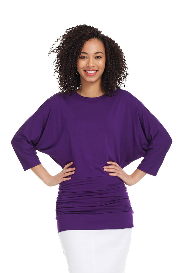 Esteez DAHLIA top - Women's 3/4 Sleeve Tummy Tuck Top - PURPLE