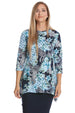 Esteez DAISY top - Womens 3/4 Sleeve Loose Fitting Shirt - Sharkbite Hem - BLUE FLORAL