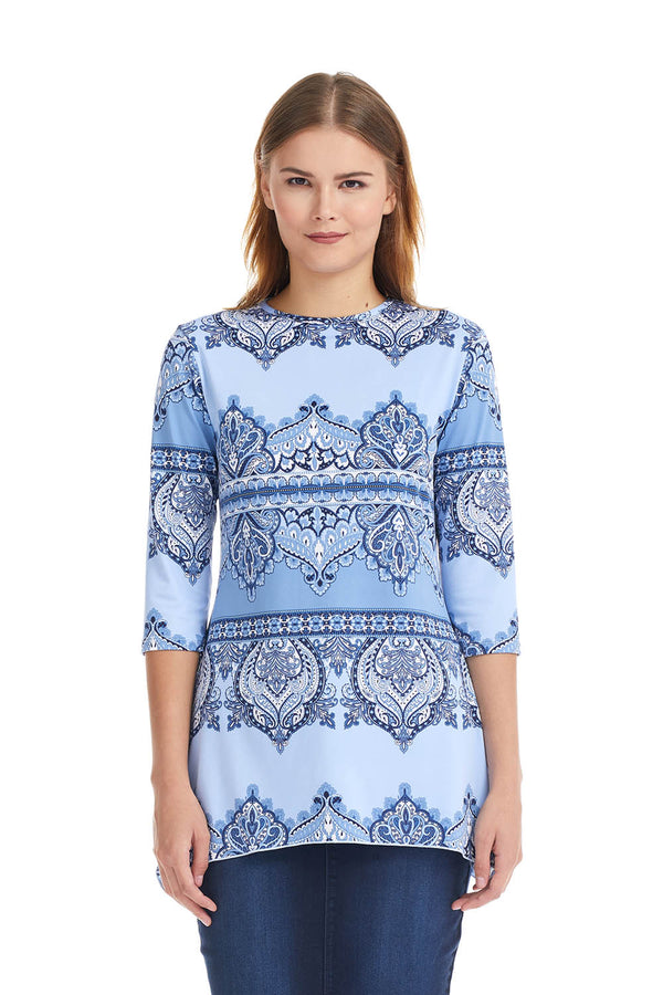 Esteez DAISY top - Womens 3/4 Sleeve Loose Fitting Shirt - Sharkbite Hem - BLUE PAISLEY