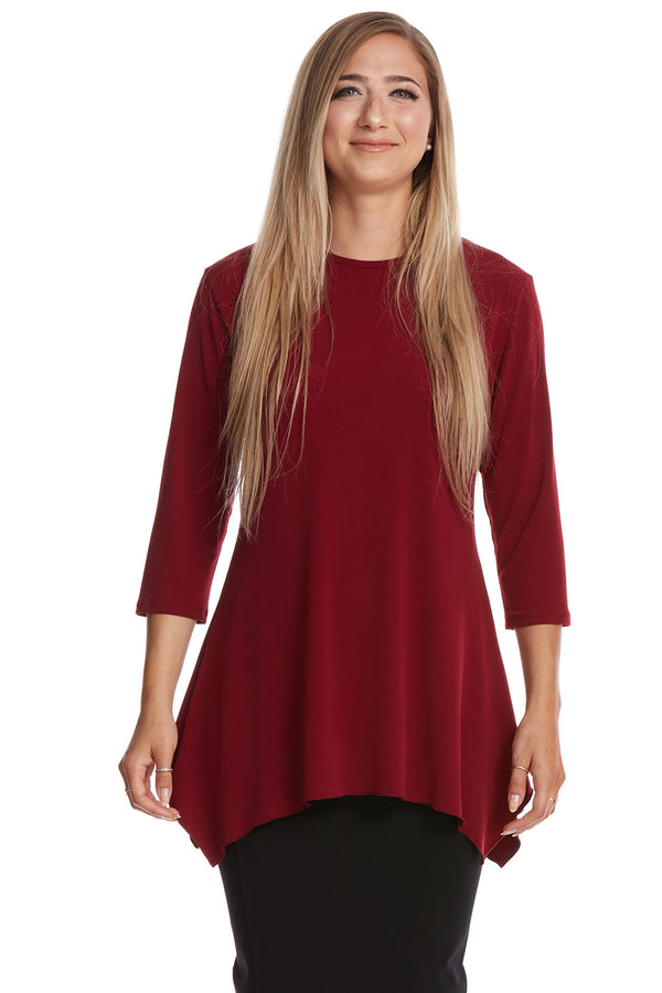 Esteez DAISY top - Womens 3/4 Sleeve Loose Fitting Shirt - Sharkbite Hem - BURGANDY