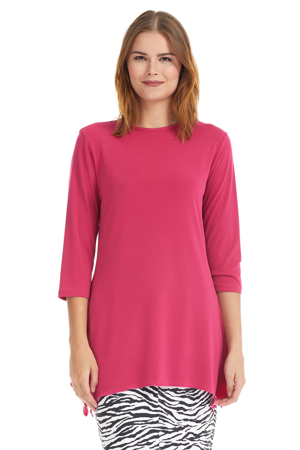 Esteez DAISY top - Womens 3/4 Sleeve Loose Fitting Shirt - Sharkbite Hem - FUCHSIA - CLEARANCE