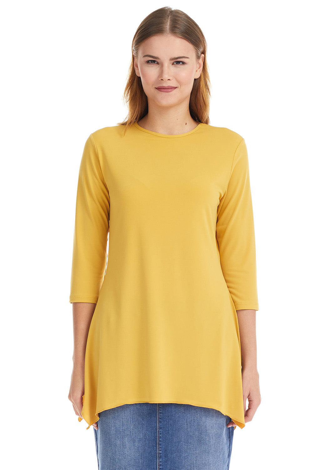 Esteez DAISY top - Womens 3/4 Sleeve Loose Fitting Shirt - Sharkbite Hem - MUSTARD