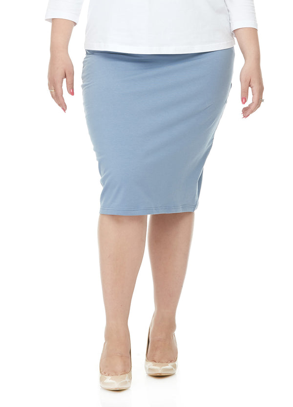Esteez DALLAS Skirt - PLUS SIZE Cotton Spandex Stretchy Pencil skirt for WOMEN – BABY BLUE