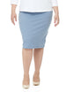 Esteez DALLAS Skirt - PLUS SIZE Cotton Lycra Stretchy Pencil skirt for WOMEN – BABY BLUE