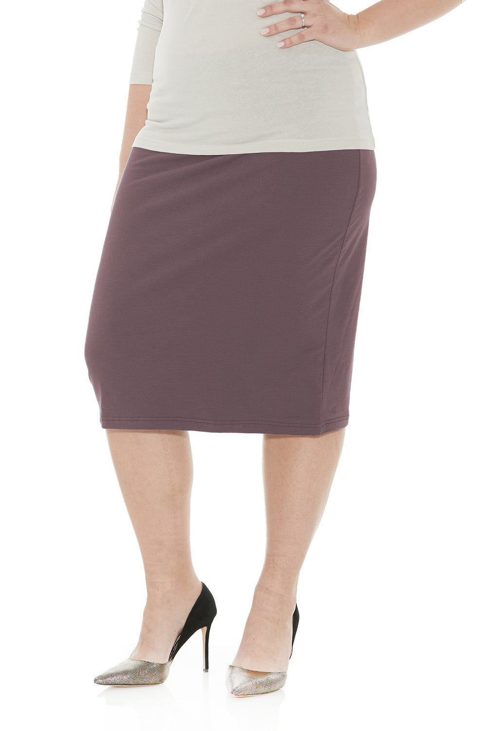 Esteez DALLAS Skirt - PLUS SIZE Cotton Spandex Stretchy Pencil skirt for WOMEN - CHARCOAL - CLEARANCE
