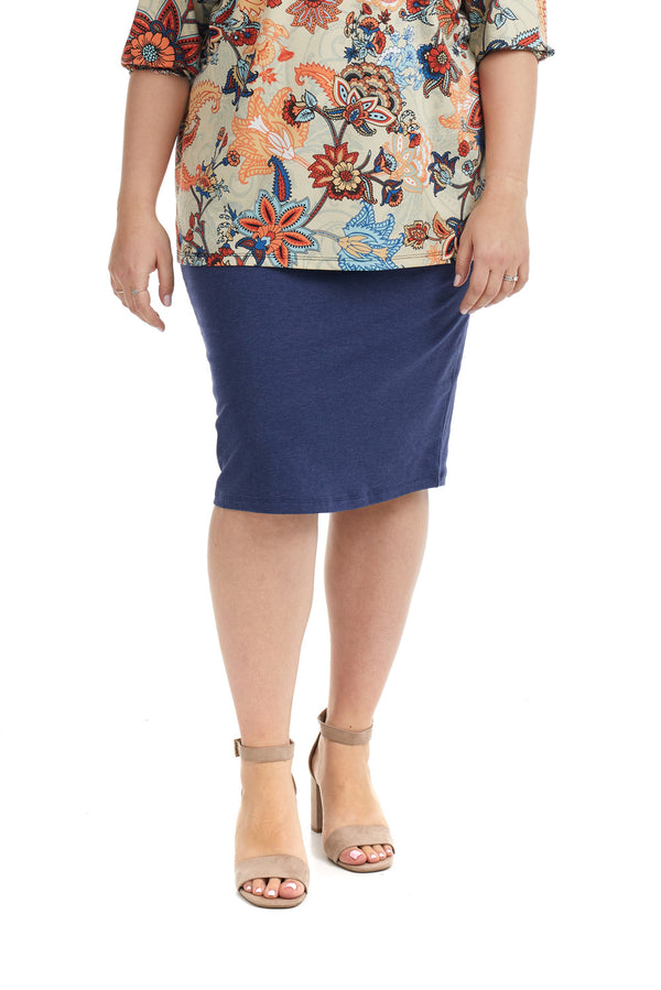Esteez DALLAS Skirt - PLUS SIZE Cotton Spandex Stretchy Pencil skirt for WOMEN – HEATHER NAVY