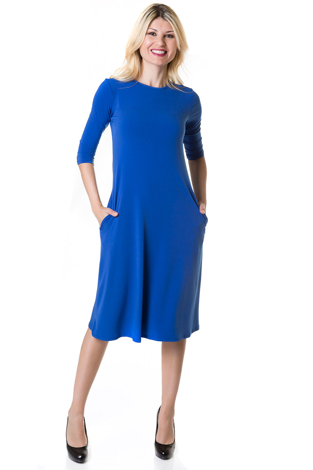 Esteez TAMMEE Dress - Womens Classic Fit - Flare Dress with pockets - COBALT - CLEARANCE