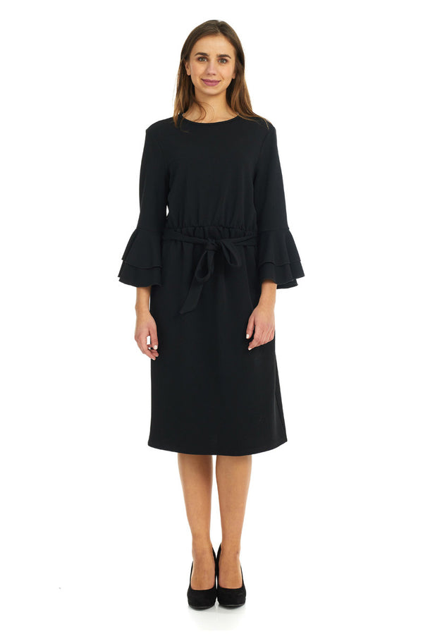 Esteez EMILEE Dress for women - Belted Empire Waist - Double Bell Sleeve - BLACK - CLEARANCE