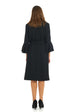 Esteez EMILEE Dress – Women's Straight Dress - Belted Empire Waist - Double Bell Sleeve - BLACK