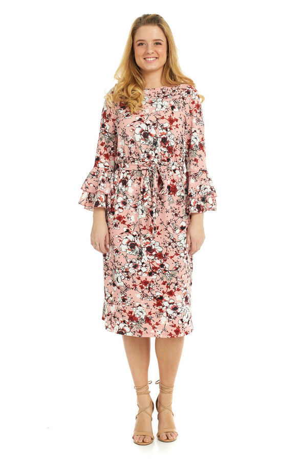 Esteez EMILEE Dress for women - Belted Empire Waist - Double Bell Sleeve - PINK FLORAL - CLEARANCE