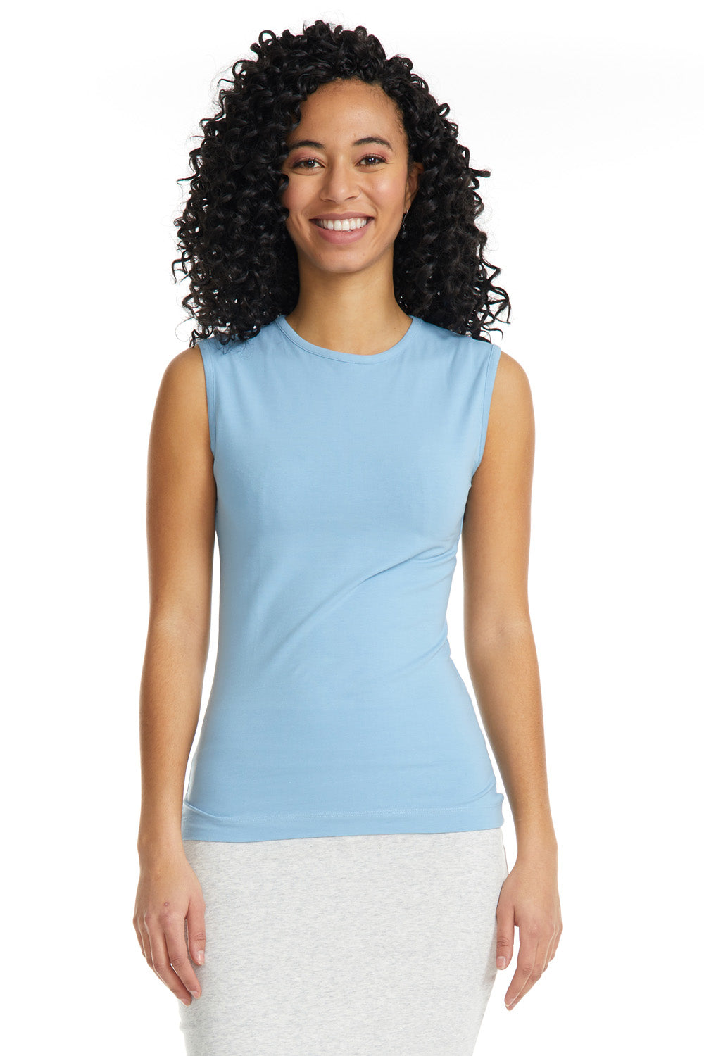 Esteez Sleeveless Cotton Spandex Fitted Layering Shell for WOMEN - BABY BLUE