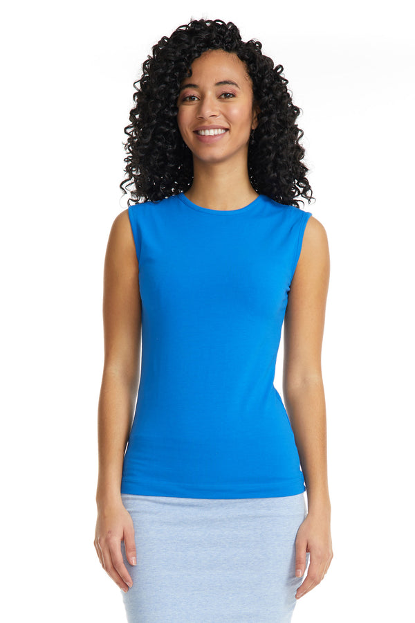 Esteez Sleeveless Cotton Spandex Fitted Layering Shell for WOMEN - BLUE