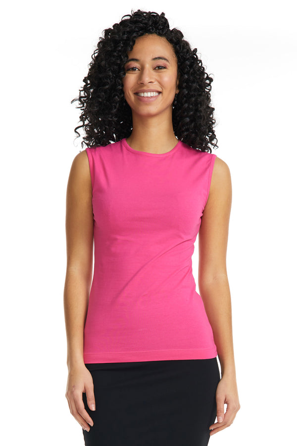 Esteez Sleeveless Cotton Spandex Fitted Layering Shell for WOMEN - MAGENTA