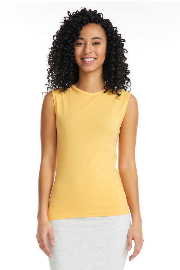 Esteez Sleeveless Cotton Spandex Fitted Layering Shell for WOMEN - MANGO