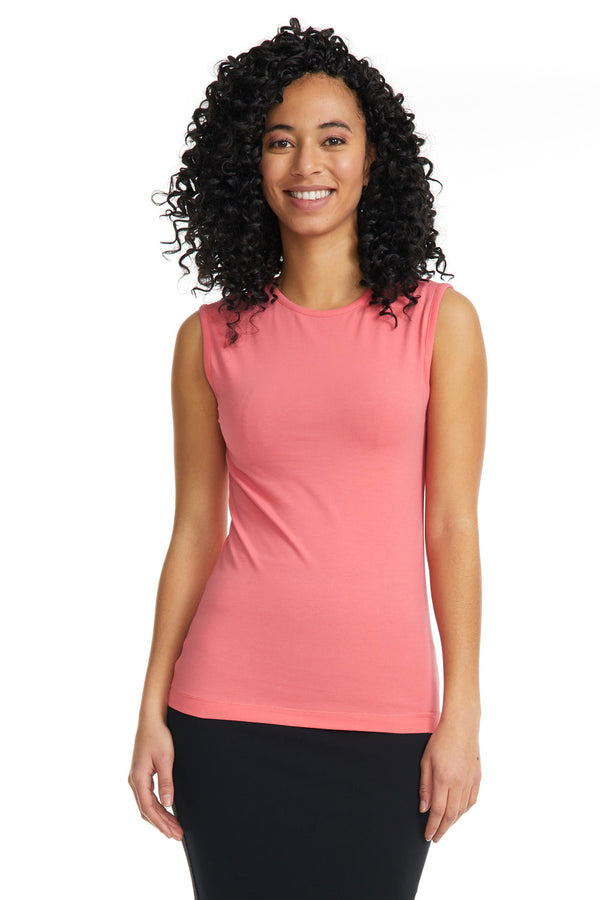 Esteez Sleeveless Cotton Spandex Fitted Layering Shell for WOMEN - SALMON