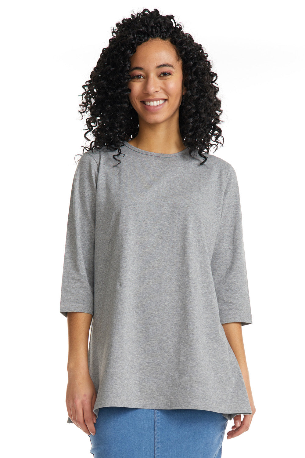 Esteez Loose Tee 2.0 - Women's 3/4 Sleeve - Loose Fitting T-Shirt - GREY