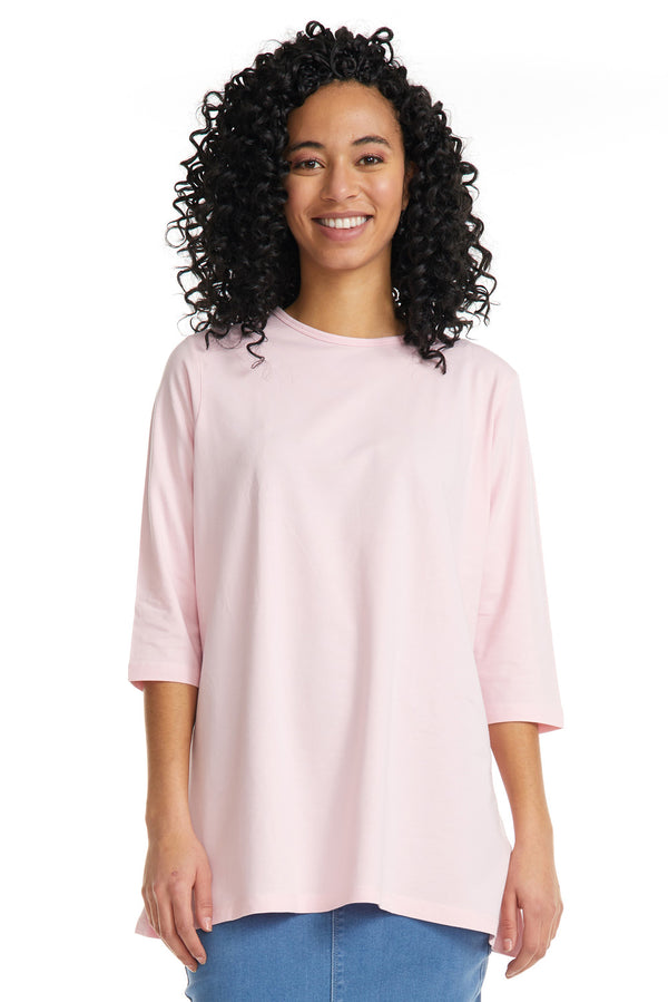 Esteez Loose Tee 2.0 - Women's 3/4 Sleeve - Loose Fitting T-Shirt - PINK