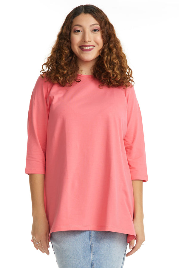 Esteez Loose Tee 2.0 - Women's 3/4 Sleeve - Loose Fitting T-Shirt - SALMON