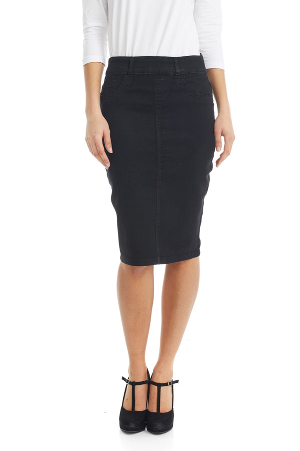 ESTEEZ BROOKLYN SKIRT - Below the knee Jean Skirt for women - BLACK