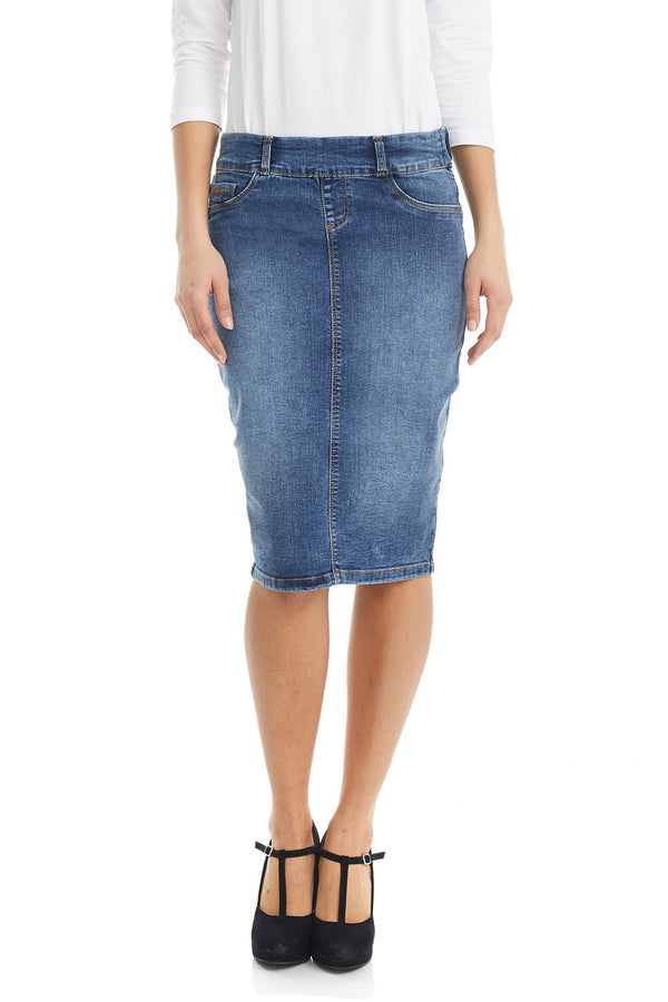 ESTEEZ BROOKLYN SKIRT - Below the knee Jean Skirt for women - DENIM