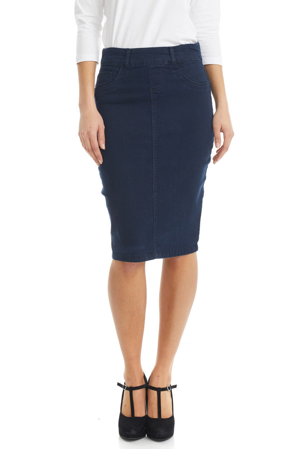 ESTEEZ BROOKLYN SKIRT - Below the knee Jean Skirt for women - NAVY