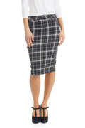 Esteez MELROSE Denim Skirt - Stretchy Knee Length Plaid Pencil Jean Skirt for WOMEN