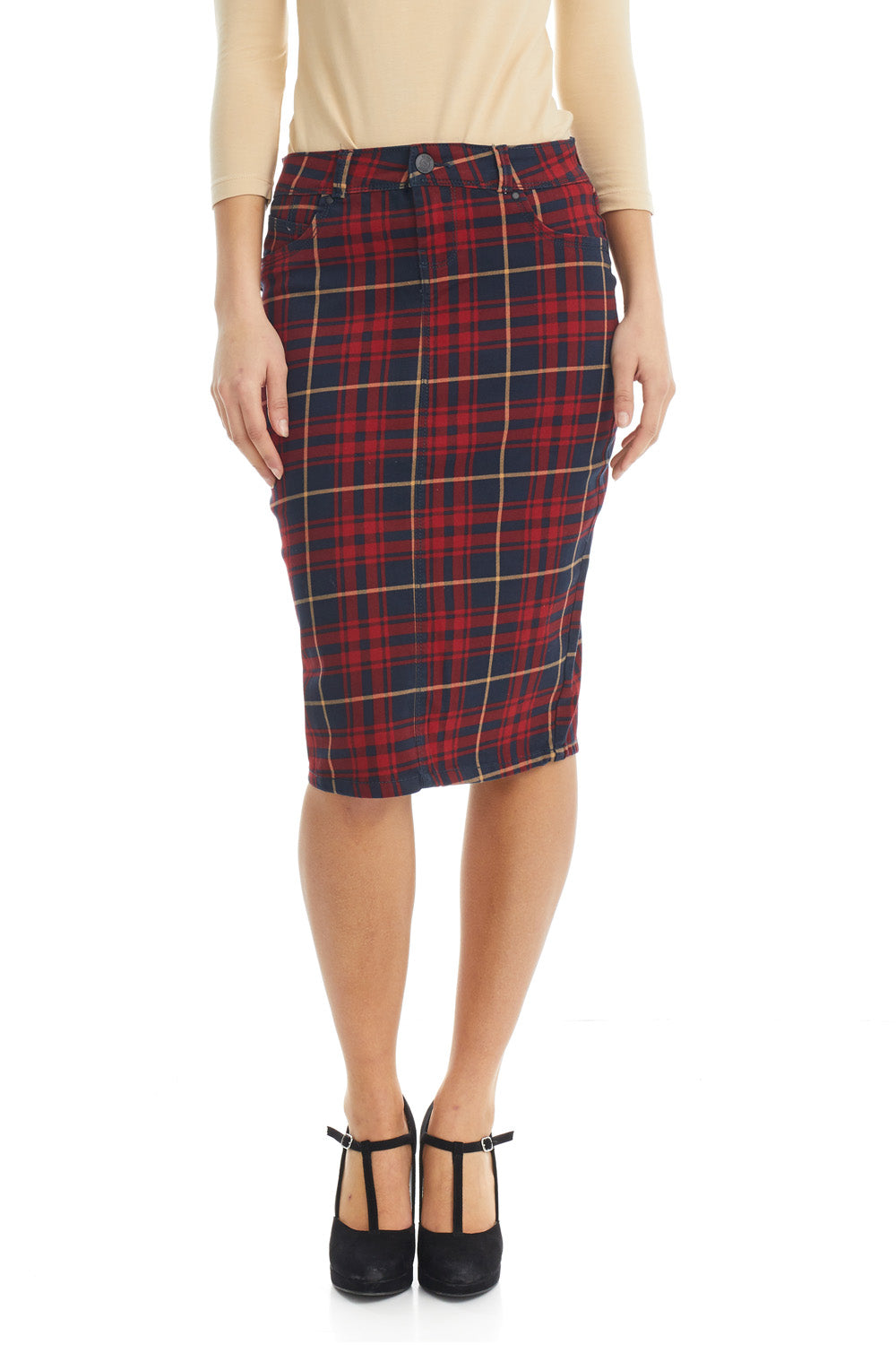 Esteez MELROSE Skirt - Powerstretch Jean Skirt for WOMEN - CLASSIC PLAID