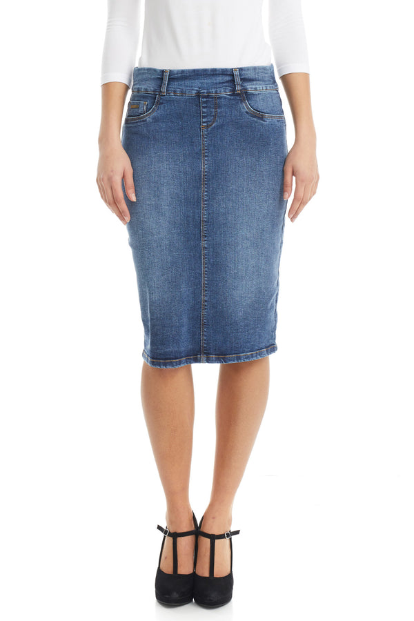 ESTEEZ BOSTON SKIRT - Below the knee Jean Skirt for women - CLASSIC BLUE