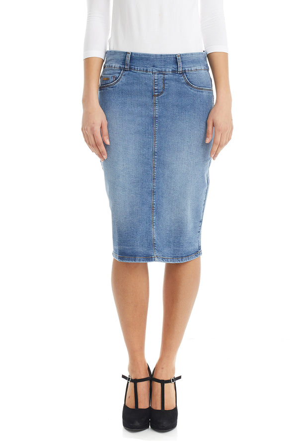 ESTEEZ BOSTON SKIRT - Below the knee Jean Skirt for women - VINTAGE BLUE