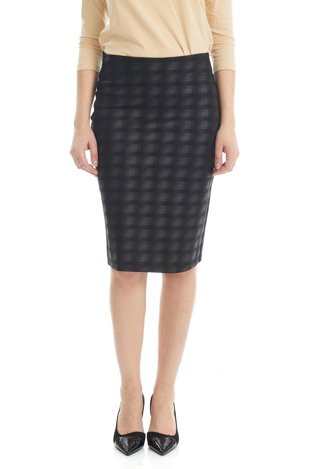 ESTEEZ SOPHIA Skirt - Straight Ponte Skirt for Women - BLACK PLAID