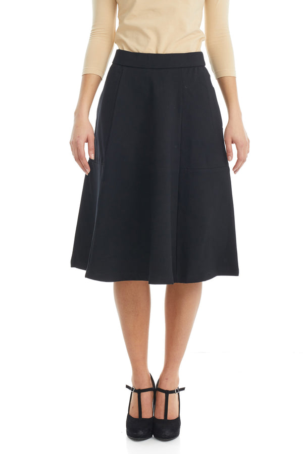 ESTEEZ AUSTIN Skirt - Dressy Ponte A-Line Skirt for WOMEN - BLACK