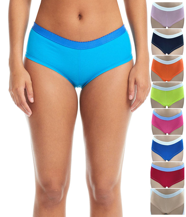 Esteez Cotton Boyshort Panties for Women - Pack of 6 - ASSORTED COLORS
