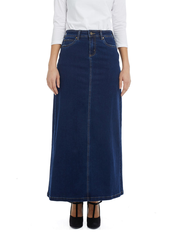Esteez GEORGIA Skirt - Maxi Denim A-Line Skirt for WOMEN - BLUE