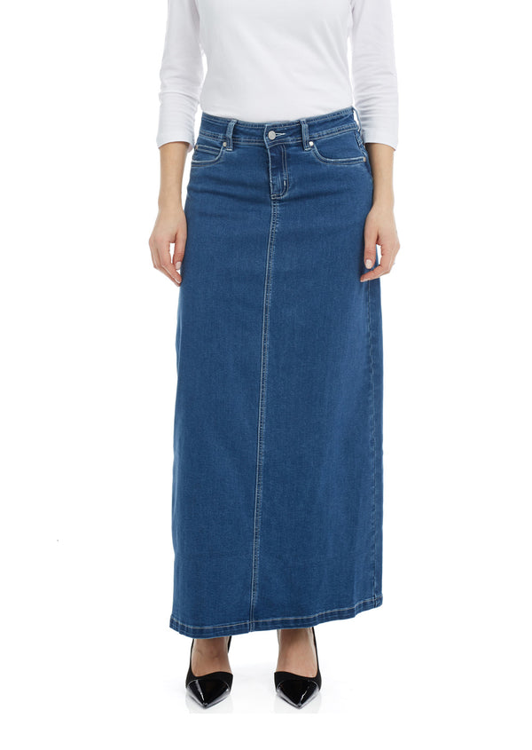 Esteez GEORGIA Skirt - Maxi Denim A-Line Skirt for WOMEN - CLASSIC BLUE
