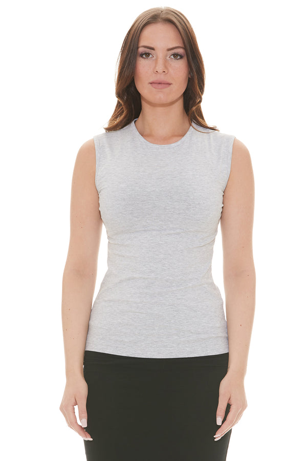 Esteez Sleeveless Cotton Spandex Fitted Layering Shell for WOMEN - GREY MIX