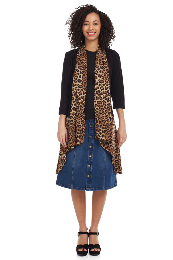 Esteez HEATHER - Women's Long Cardigan - Open Front - High-Low Waterfall Drape - TAN LEOPARD