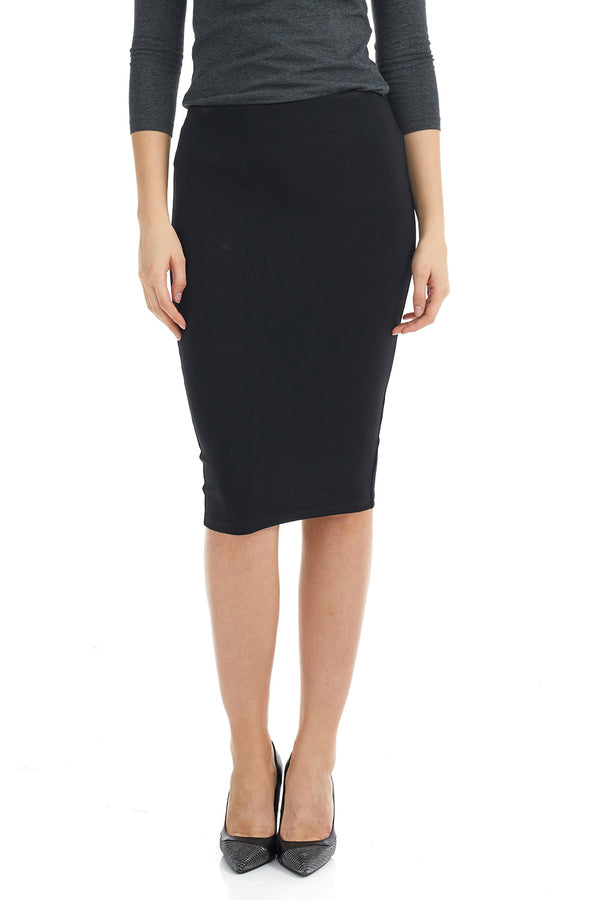 ESTEEZ HOUSTON SKIRT - Basic Below the Knee Pencil Skirt for WOMEN - BLACK