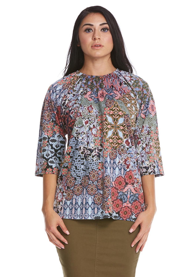 Esteez Jasmine Top - 3/4 Sleeve Shirt with Ruching Neckline - BLUE MOSAIC - CLEARANCE