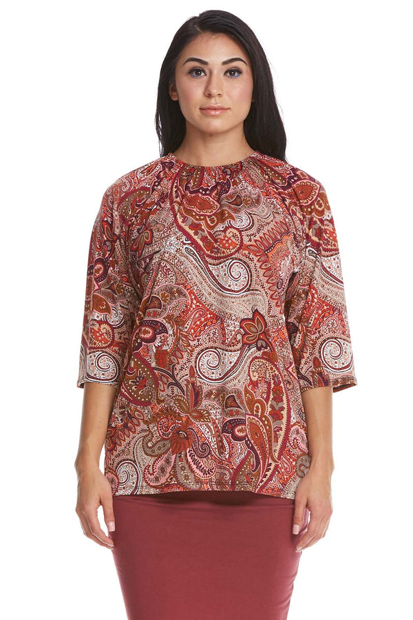 Esteez Jasmine Top - 3/4 Sleeve Shirt with Ruching Neckline - PINK TAN - CLEARANCE