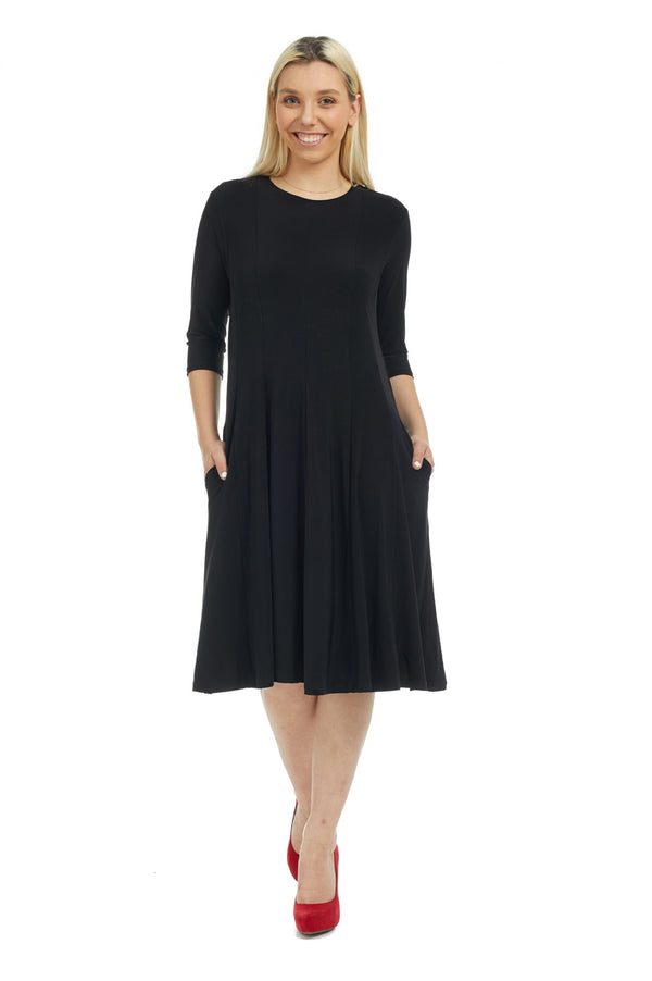 Esteez JUDEE Dress - Women's Classic Fit n' Flare Dress with pockets - BLACK