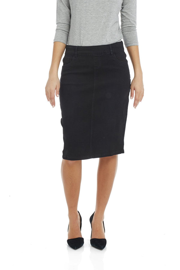 Esteez MANHATTAN Skirt - Classic Stretch Jean Skirt for WOMEN - BLACK