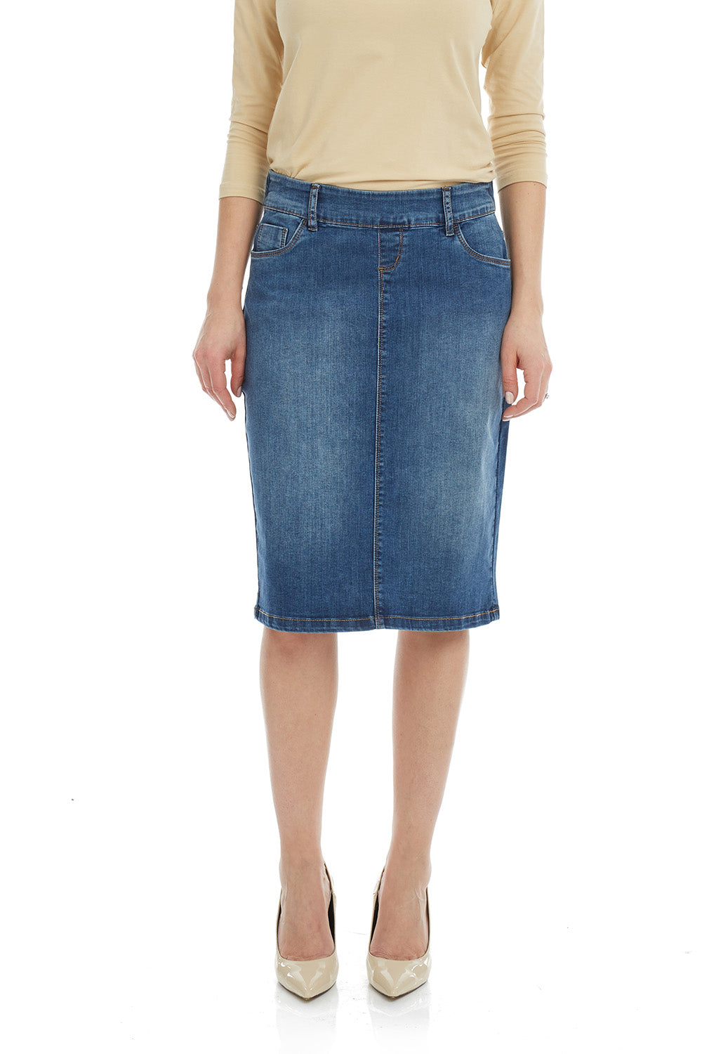 Esteez MANHATTAN Skirt - Classic Stretch Jean Skirt for WOMEN - BLUE