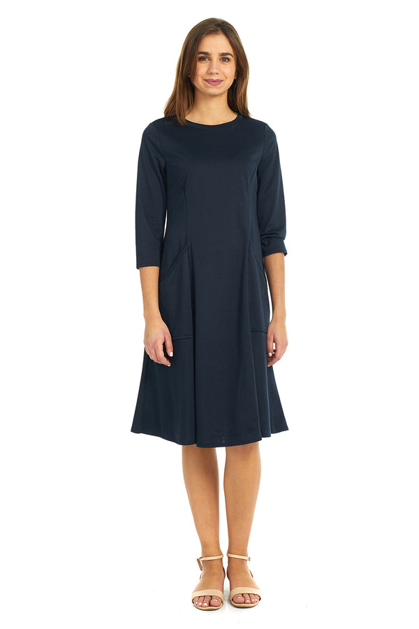 Esteez MEGAN Dress – Women's Fit n' Flare Dress with Big Pockets - NAVY - CLEARANCE